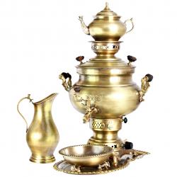 سرویس سماور گازی آریان طرح ساده کد 17020002 ظرفیت 8 لیتر (طلایی)