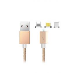 کابل تبدیل USB به MicroUSB و لایتینگ و Type-C الدینیو مدل 360 به طول 1 متر