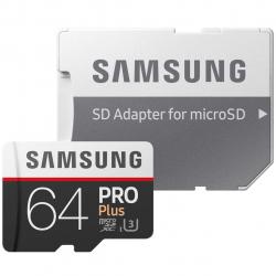 کارت حافظه microSDXC سامسونگ مدل Pro Plus کلاس 10 استاندارد UHS-I U3 سرعت 100MBps ظرفیت 64 گیگابایت