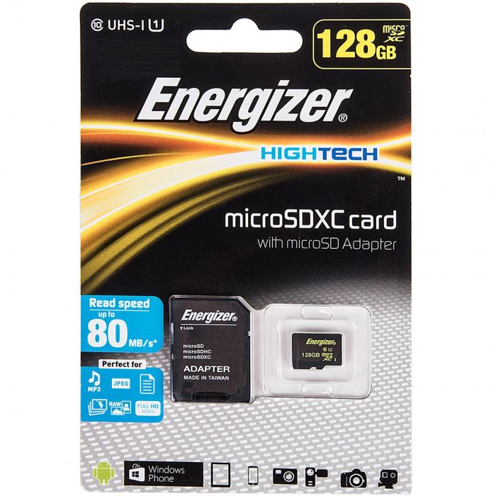 کارت حافظه microSDXC انرجایزر مدل Hightech کلاس 10 استاندارد UHS-I U1 ظرفیت 128 گیگابایت