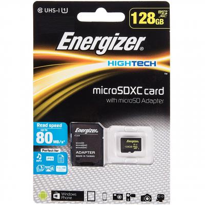 کارت حافظه microSDXC انرجایزر مدل Hightech کلاس 10 استاندارد UHS-I U1 سرعت 80MBps ظرفیت 128GB (مشکی)