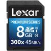 کارت حافظه SDHC لکسار مدل Premium کلاس 10 استاندارد UHS-I U1 سرعت 45MBps 300X ظرفیت 8 گیگابایت