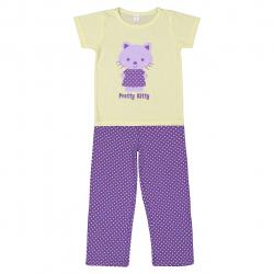 ست تی شرت و شلوار دخترانه OutDoor مدل Pretty Kitty (زرد - بنفش) سایز (6-7 سال)