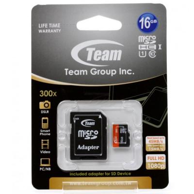 کارت حافظه microSDHC تیم گروپ کلاس 10 استاندارد UHS-I U1 سرعت 45MBps ظرفیت 16 گیگابایت
