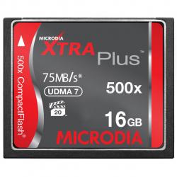 کارت حافظه CompactFlash مایکرودیا مدل Xtra Plus سرعت 500X 75MBps ظرفیت 16 گیگابایت