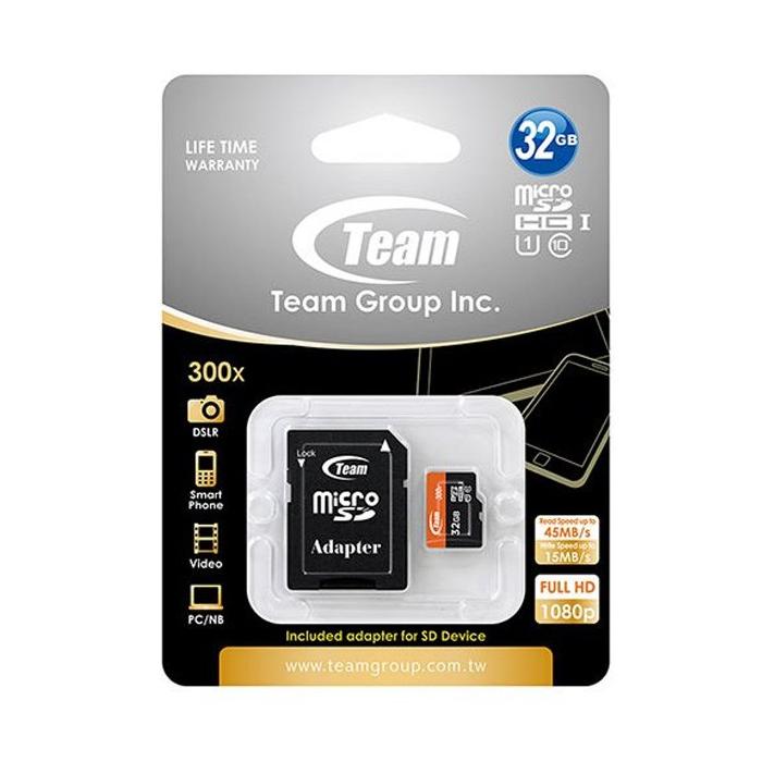کارت حافظه microSDHC تیم گروپ کلاس 10 استاندارد UHS-I U1 سرعت 45MBps 300X ظرفیت 32 گیگابایت