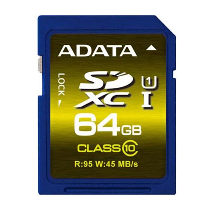 کارت حافظه SDXC ای دیتا Pro مدل Premier استاندارد UHS-I U1 کلاس 10 ظرفیت 64 گیگابایت
