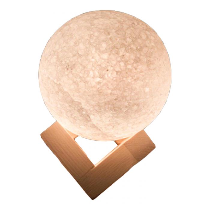آباژور سنگ نمک طرح گوی با قطر 12 به همراه پایه چوبی   SALT STONE LAMP