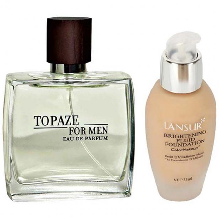 ادو پرفیوم مردانه استاویتا مدل Topaze حجم 100 میلی لیتر به همراه کرم پودر لنسور مدل Color Makeup 03