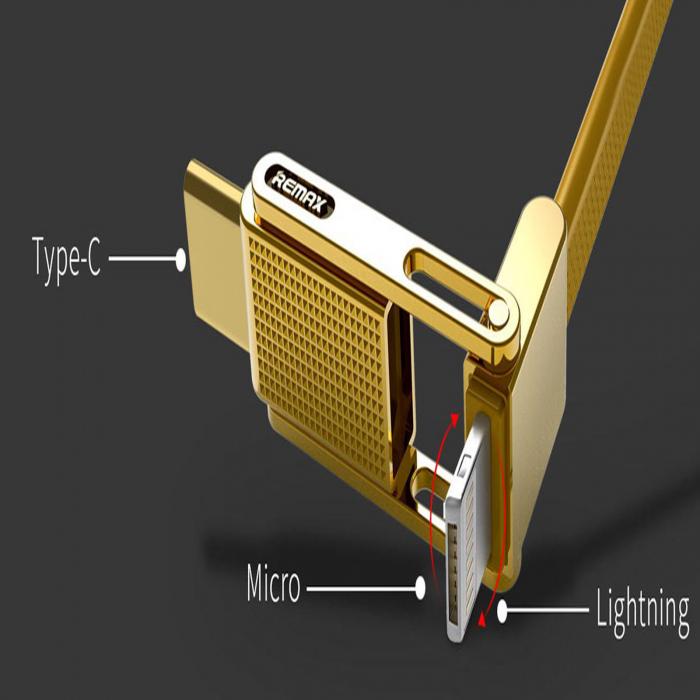 کابل تبدیل USB به microUSB/USB-C/لایتنینگ ریمکس مدل Gplex طول 1 متر