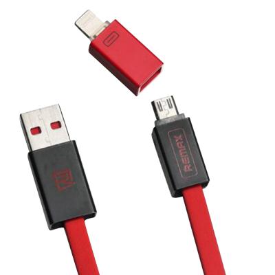 کابل تبدیل USB به لایتنینگ و microUSB ریمکس مدل Shadow rc-026t به طول 1 متر (خاکستری)
