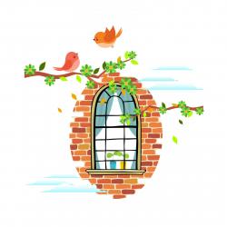 استیکر دیواری سالسو طرح پنجره نوستالژی