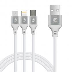 کابل تبدیل USB به لایتنینگ و microUSB و type-c زیکن مدل T33 به طول 1.2 متر