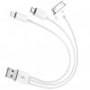 کابل سه شاخه کوتاه USB به microUSB، لایتنینگ و 30-پین مدل Three in One به طول 20 سانتی متر