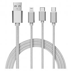 کابل تبدیل USB به microUSB و لایتنینگ و USB-C مای کندی مدل UU02