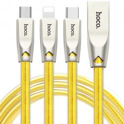 کابل تبدیل USB به microUSB/لایتنینگ/USB-C هوکو مدل U9 طول 1.5 متر