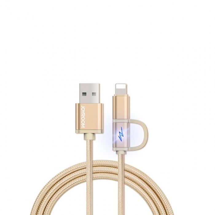 کابل تبدیل USB به لایتنینگ و MicroUSB جوی روم مدل Smart 2 in 1 به طول 1 متر