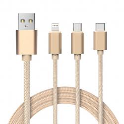 کابل تبدیل USB به لایتنینگ/microUSB/USB-C هوکو مدل X2 Rapid طول 1 متر