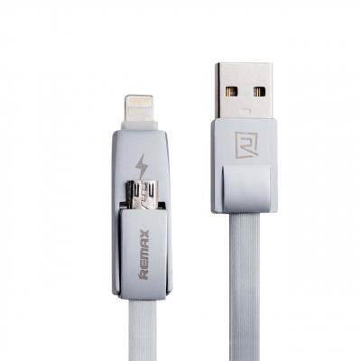 کابل تبدیل USB به microUSB و لایتنینگ ریمکس مدل Strive به طول 1 متر