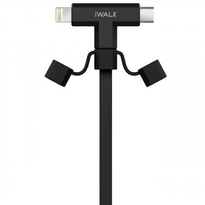 کابل تبدیل USB به microUSB و لایتنینگ آی واک مدل CST012 طول 1 متر