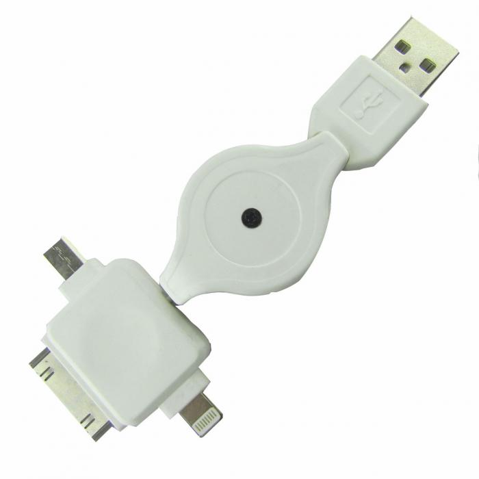 کابل تبدیل USB به 30-پین و لایتینگ و MicroUSB مدل Ke-uc به طول 0.75 متر