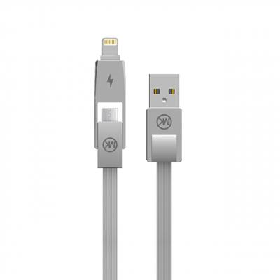 کابل تبدیل USB به لایتنینگ و MicroUSB دبلیو کی مدل YIRI WDC-014 به طول 1 متر (خاکستری)
