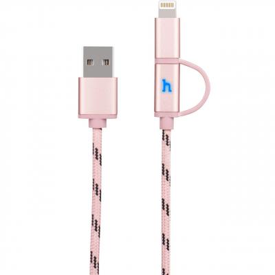 کابل تبدیل USB به لایتنینگ و microUSB هوکو مدل UPL20 Two In One به طول 1.2 متر