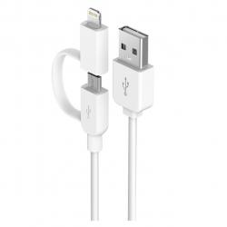 کابل تبدیل USB به لایتنینگ و MicroUSB دویا مدل Smart 2 in 1 به طول 1 متر