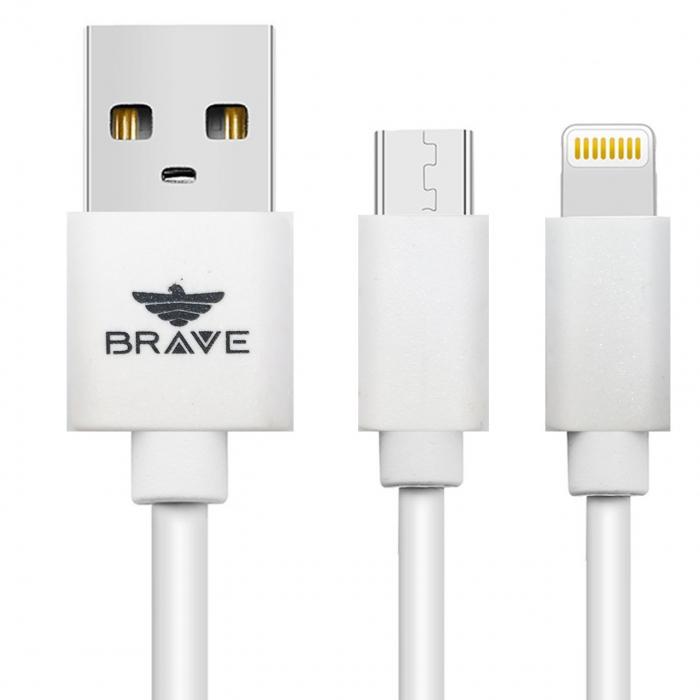 کابل تبدیل USB به microUSB و لایتنینگ بریو مدل BCD-402  به طول 1 متر