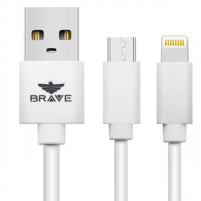 کابل تبدیل USB به microUSB و لایتنینگ بریو مدل BCD-402  به طول 1 متر (سفید)