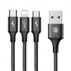 کابل تبدیل USB به microUSB/لایتنینگ/USB-C باسئوس مدل Rapid Series طول 1.2 متر