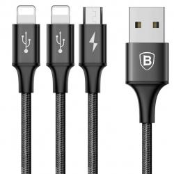 کابل تبدیل USB به microUSB و 2 کانکتور لایتنینگ باسئوس مدل Rapid طول 1.2 متر