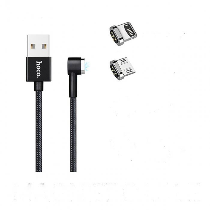 کابل مغناطیسی USB به لایتنینگ و Micro USB هوکو مدل U20 به طول 1 متر