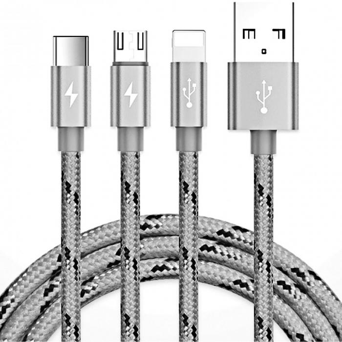 کابل تبدیل USB به microUSB/لایتنینگ/USB-C یوبائو مدل YB-453 طول 1.2 متر