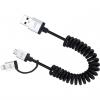کابل تبدیل USB به microUSB و لایتنینگ جاست موبایل مدل AluCable Duo Twist به طول 1.8 متر