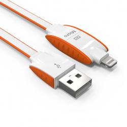کابل تبدیل USB به لایتنینگ و microUSB الدینیو مدل LC83 به طول 1 متر