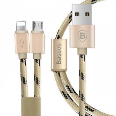 کابل تبدیل USB به microUSB و لایتنینگ باسئوس مدل Portman 2 In 1 به طول 1.2 متر