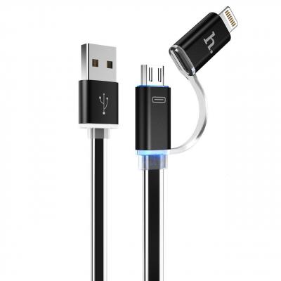 کابل تبدیل USB به لایتنینگ و MicroUSB هوکو مدل UPL08 Two In One به طول 1.2 متر (صورتی)