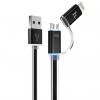 کابل تبدیل USB به لایتنینگ و MicroUSB هوکو مدل UPL08 Two In One به طول 1.2 متر