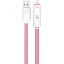 کابل تخت تبدیل USB به microUSB و لایتنینگ باسئوس مدل Arrow 2 In 1 به طول 1 متر