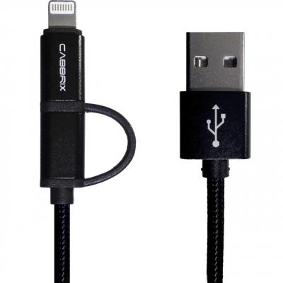 کابل تبدیل USB به microUSB و لایتنینگ کابریکس مدل 2 در 1 به طول 2 متر