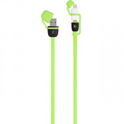 کابل تبدیل USB به لایتنینگ و microUSB هوکو مدل UPL21 Two In One به طول 1.2 متر