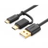 کابل تبدیل USB به microUSB و USB-C یوگرین مدل US142 طول 1.5 متر