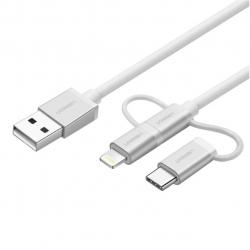 کابل تبدیل USB به microUSB/USB-C/لایتنینگ یوگرین مدل US186 طول 1.5 متر