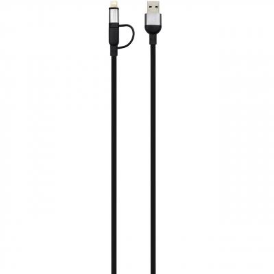کابل تبدیل USB به لایتنینگ و microUSB آدام المنتس مدل PeAK Duo 120F به طول 1.2 متر