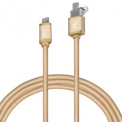 کابل تبدیل لایتنینگ به USB و Micro USB اس تی کی مدل Binary2 به طول 2 متر