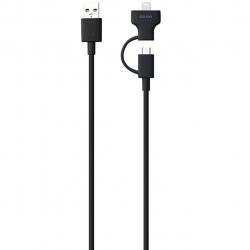 کابل تبدیل USB به microUSB و لایتنینگ اوزاکی مدل Otool Combo OT225 به طول 1 متر