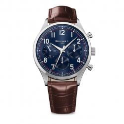 ساعت مچی عقربه ای ویلیام اِل 1985 مدل Vintage Style Calendar Silver Blue Brown Leather