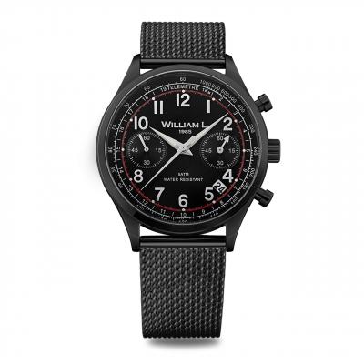 ساعت مچی عقربه ای ویلیام اِل 1985 مدل Vintage Style Chronograph Black Steel