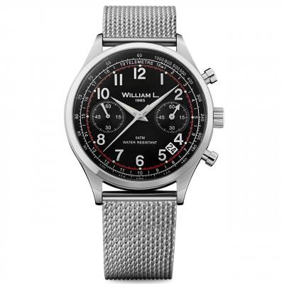 ساعت مچی عقربه ای ویلیام اِل 1985 مدل Vintage Style Chronograph Black Silver Steel
